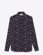 Signature YVES Collar Shirt in Black, Blue and Red Star Printed Viscose