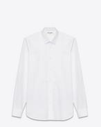 Chemise à col Yves et plastron en piqué en popeline de coton blanche