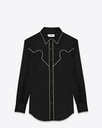 Slim Western ROCK Shirt in Black Rinse Viscose