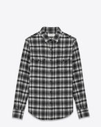 Classic Western Shirt in Shell and Black Wool and Nylon Plaid