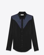 ウェスタンシャツ(ブラック&ネイビー/シルク)