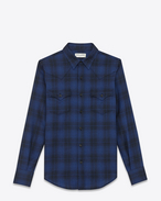 Classic Western Shirt in Shell and Blue Wool Plaid