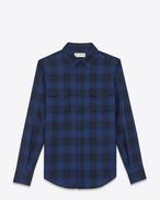 Chemise western en laine à motif écossais coquille blanc cassé et bleu