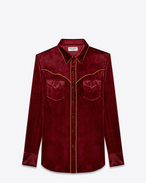 camicia rock slim country burgundy in viscosa e velluto di seta