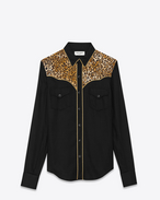 ROCK Slim Country Shirt in Black and Leopard Printed  Viscose Twill