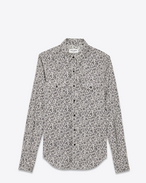 Western Slim Shirt in White and Black Raw Paisley Printed Cotton