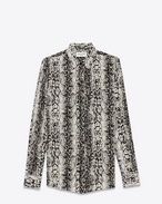 signature 70's collar shirt in black and ivory serpent printed silk crêpe