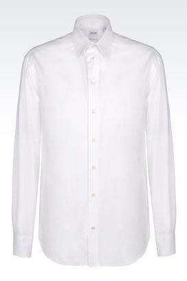 Armani Long sleeve shirts Men shirt in stretch twill