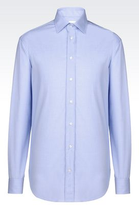 Armani Long sleeve shirts Men shirt in stretch cotton