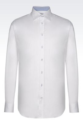 Armani Long sleeve shirts Men shirt in stretch twill