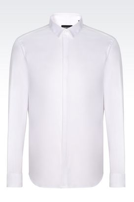 Armani Long sleeve shirts Men slim fit shirt in cotton poplin
