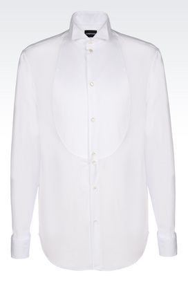 Armani Long sleeve shirts Men dinner shirt in poplin