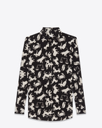 PARIS Collar Shirt in Black and Off White Horoscope Printed  Silk Crêpe