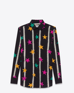 paris collar shirt in black and multicolor stars and spray paint printed silk crêpe