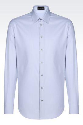 Armani Camicie maniche lunghe Uomo camicia slim fit in cotone armaturato