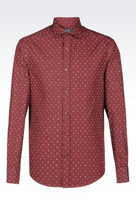 Armani Long sleeve shirts Men shirt in cotton poplin