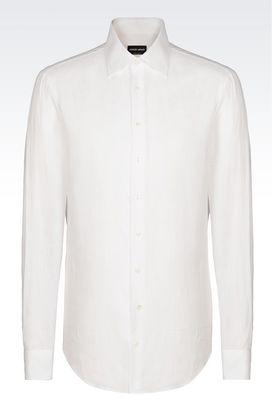 Armani Camicie Uomo camicia in lino con collo alla francese