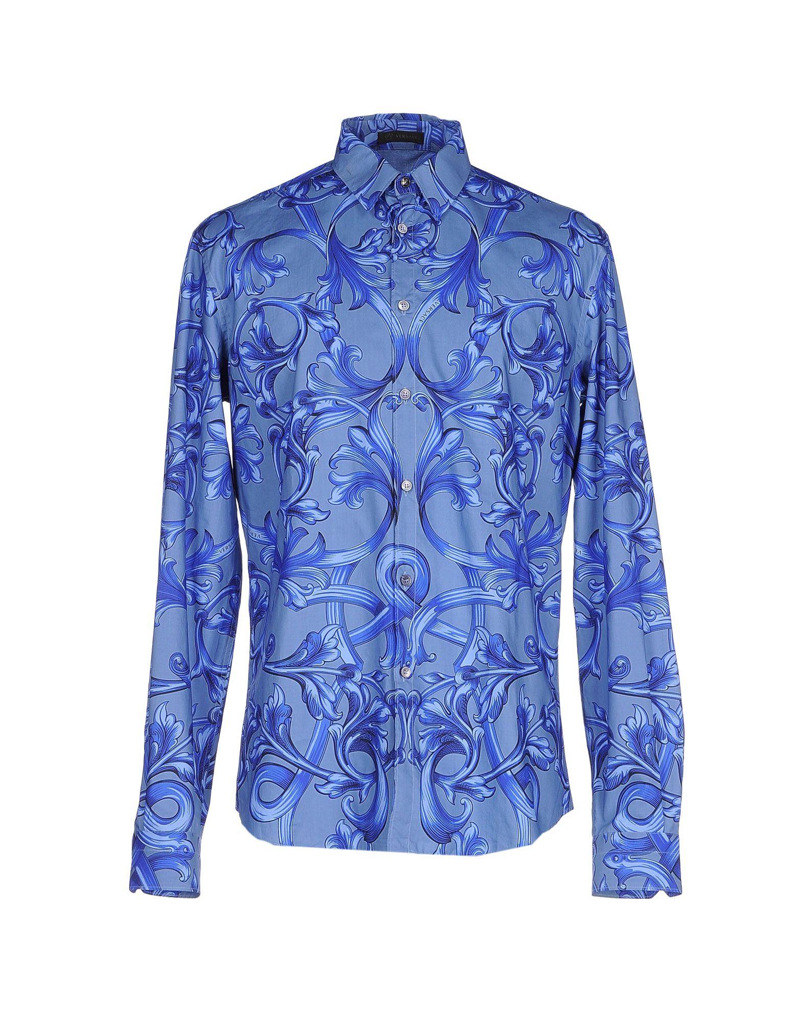 VERSACE Herren Hemd Farbe Taubenblau Größe 6
