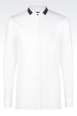 Armani Long sleeve shirts Men slim fit poplin stretch shirt with contrast collar