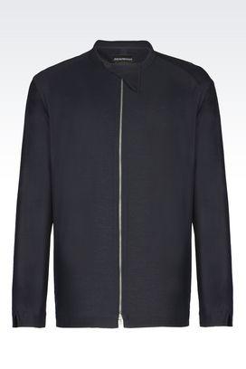 Armani Camicie maniche lunghe Uomo camicia in jersey di cotone con collo alla coreana