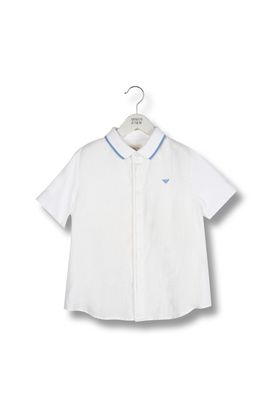 Armani Short sleeve shirts Men short-sleeved 100% linen shirt with concealed button fastening
