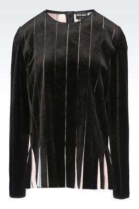 Armani Shirts Women runway velvet blouse