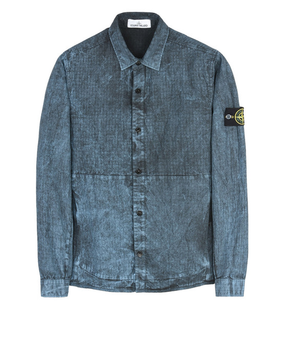 STONE ISLAND OVERSHIRT 114J1 SI HOUSE CHECK GRID COTTON/NYLON TELA WITH DUST COLOUR TREATMENT