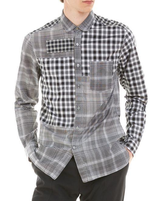 lanvin black checked shirt men