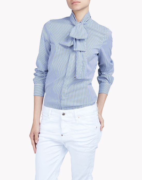 striped cotton pussy bow shirt chemises Femme Dsquared2