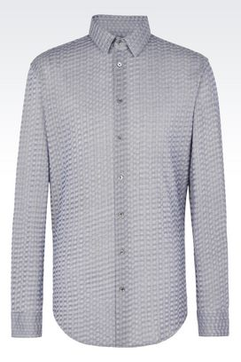 Armani Shirts Men chevron cotton shirt
