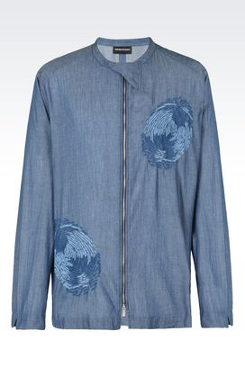 Armani Camicie maniche lunghe Uomo camicia in cotone con collo alla coreana