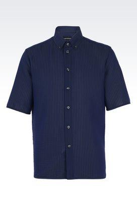 Armani Camicie maniche corte Uomo camicia in misto cotone con collo button down