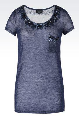 Armani Camicie Donna maglia in puro cachemire con paillettes