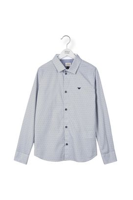 Armani Long sleeve shirts Men 1005 cotton shirt with patterned inside collar