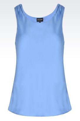 Armani Camicie Donna top in pura seta con motivo a pieghe