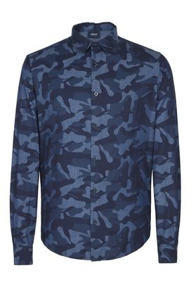 Armani Long sleeve shirts Men camouflage print stretch cotton shirt