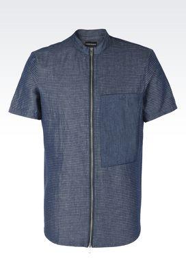 Armani Camicie maniche corte Uomo camicia in cotone e lino con collo alla coreana