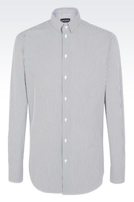 Armani Long sleeve shirts Men grey & white micro stripe shirt