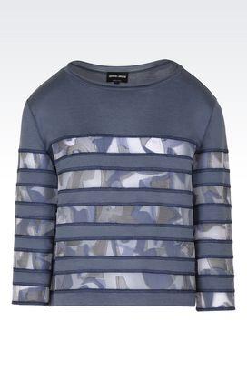 Armani Maglioni Donna blusa in jersey di seta e cotone