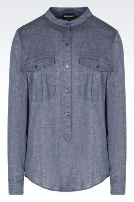 Armani Camicie Donna camicia in jersey di cotone e lino con tasche