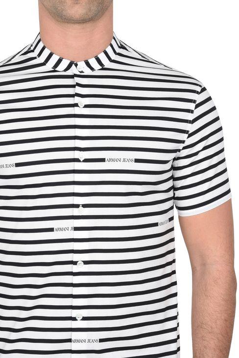 CAMICIA MANICHE CORTE IN COTONE ELASTICIZZATO A RIGHE: Camicie maniche corte Uomo by Armani - 4