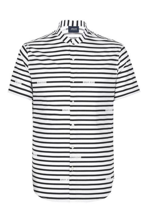 CAMICIA MANICHE CORTE IN COTONE ELASTICIZZATO A RIGHE: Camicie maniche corte Uomo by Armani - 1