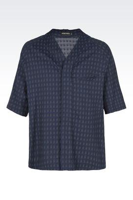 Armani Camicie maniche corte Uomo camicia in cotone con collo a v