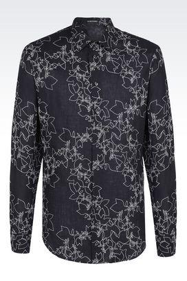 Armani Camicie maniche lunghe Uomo camicia in lino ricamato con collo alla francese