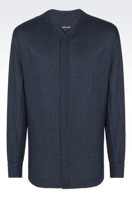Armani Camicie Uomo camicia in lino con collo a v