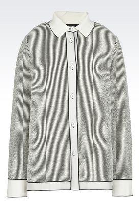 Armani Camicie Donna camicia in jersey di cotone groffato