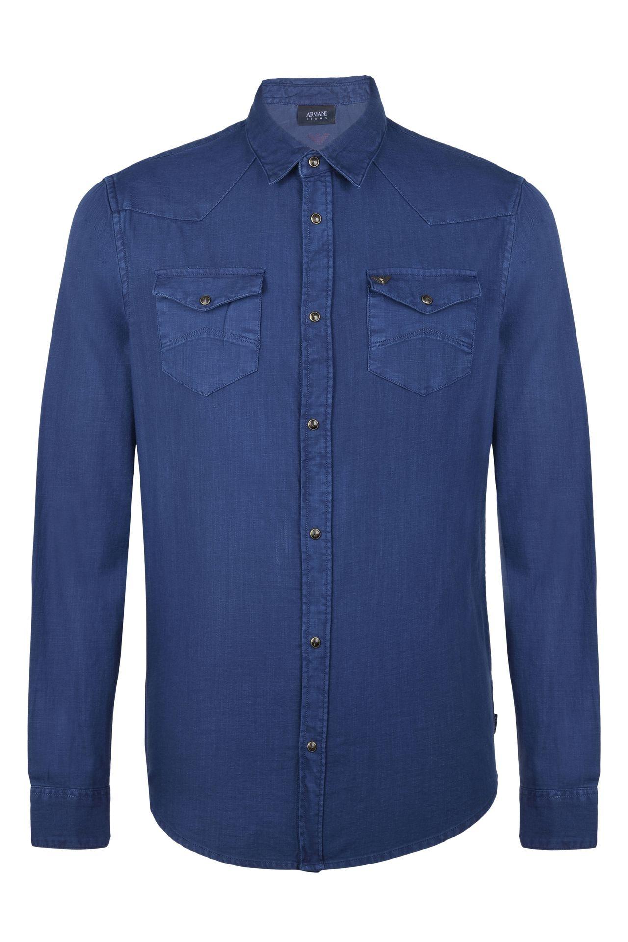 CAMICIA IN TELA DI COTONE: Camicie maniche lunghe Uomo by Armani - 0