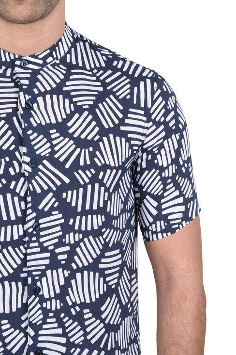 CAMICIA MANICHE CORTE IN FANTASIA GEOMETRICA : Camicie maniche corte Uomo by Armani - 4