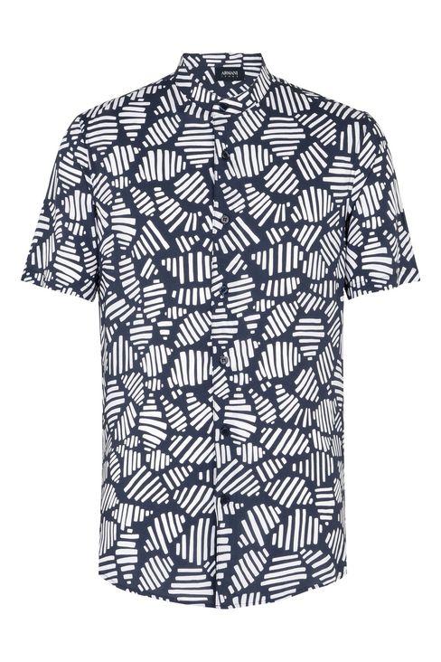 CAMICIA MANICHE CORTE IN FANTASIA GEOMETRICA : Camicie maniche corte Uomo by Armani - 1
