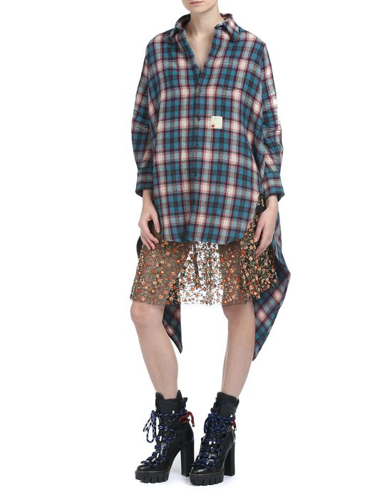oversize check wool shirt shirts Woman Dsquared2